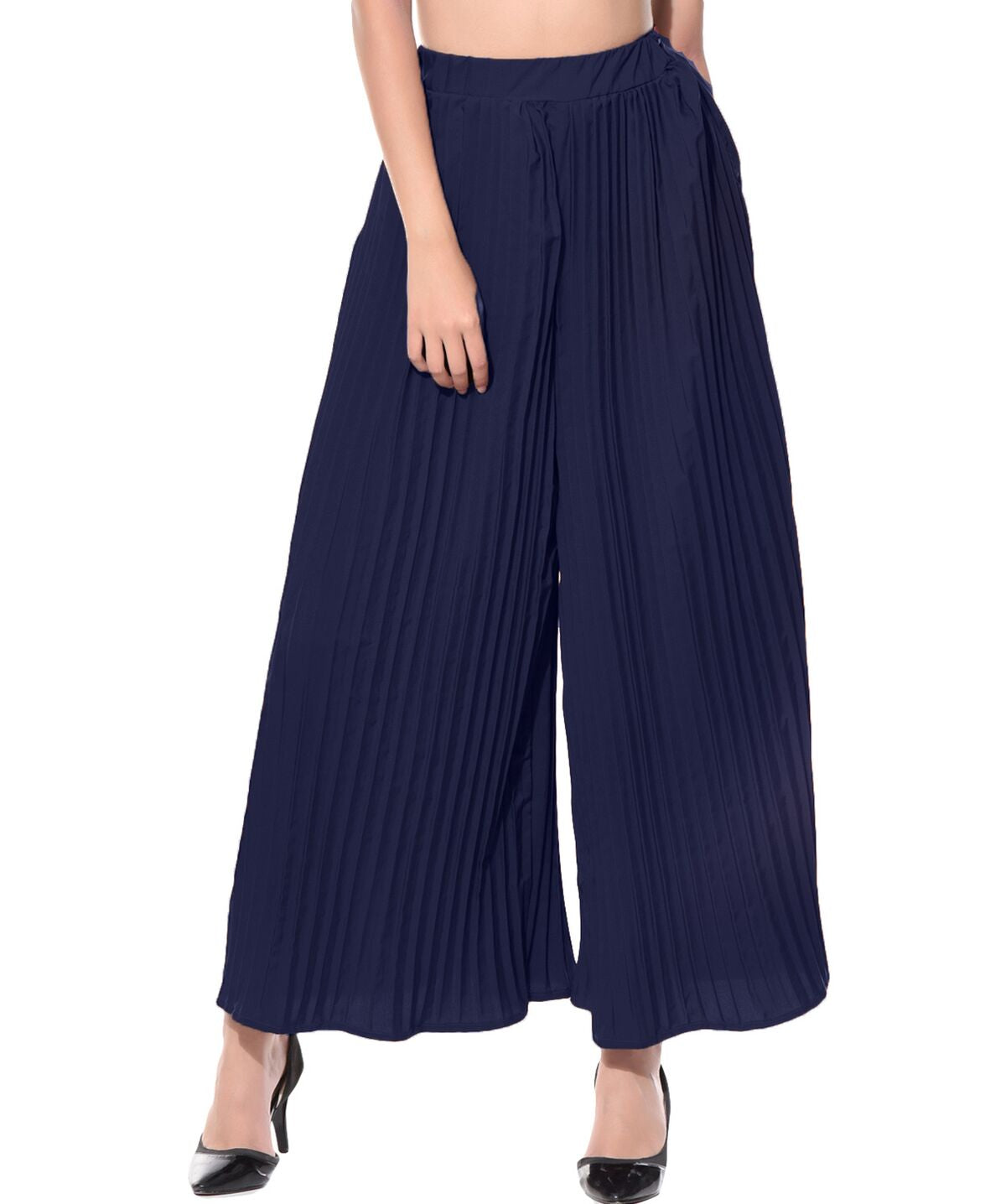 Navy Blue Pleated Crepe Palazzo - Uptownie