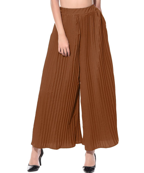 Brown Pleated Crepe Palazzo - Uptownie