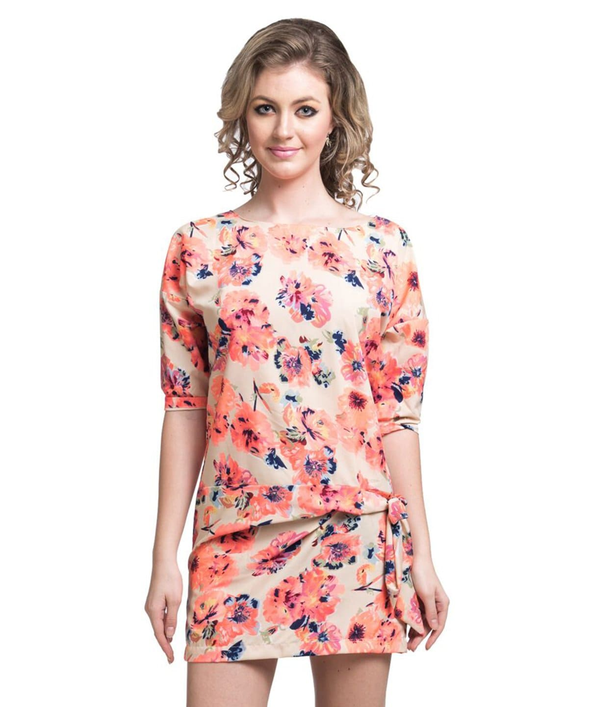 Printed Orange Casual Crepe Dress - Uptownie