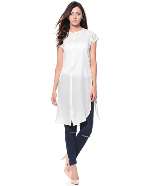Solid White Casual Buttoned Crepe Tunic - Uptownie