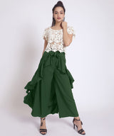 Uptownie Plus Solid Green Flared Ruffled Pants 2 clearance sale