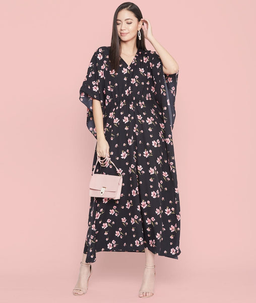 Comfortable Black Printed Maternity Kaftan Which Doubles Up As A Nightie