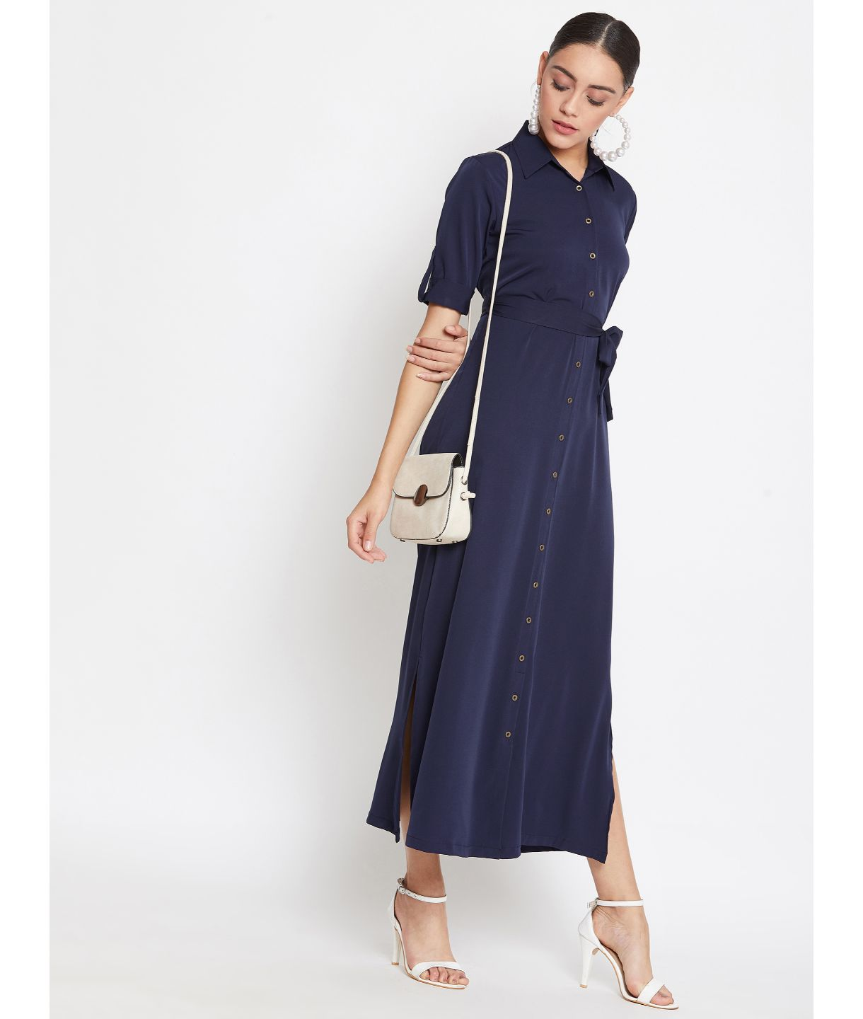 Uptownie Plus Navy Blue Solid Crepe Collar Buttoned Down Shirt Maxi Dress