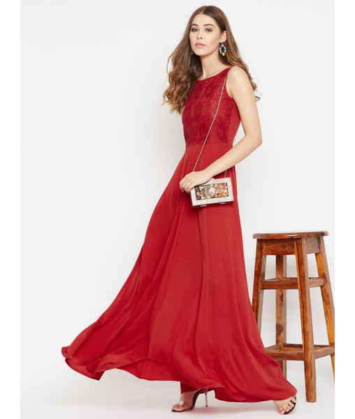 Red Solid Sleeveless Crepe Maxi Dress/Gown With Lace Details