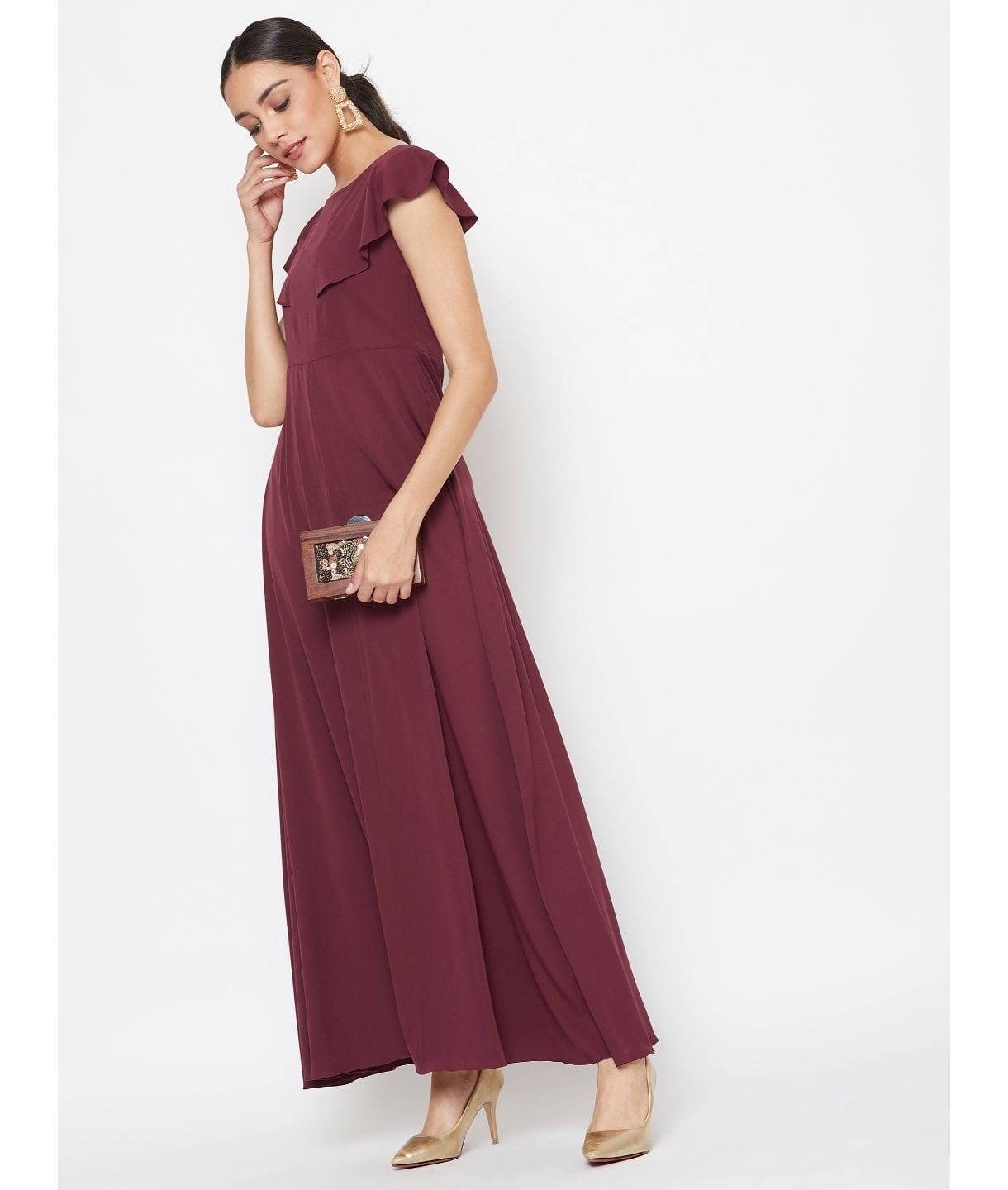 Maroon Solid Crepe Ruffled Maternity Dress/Gown