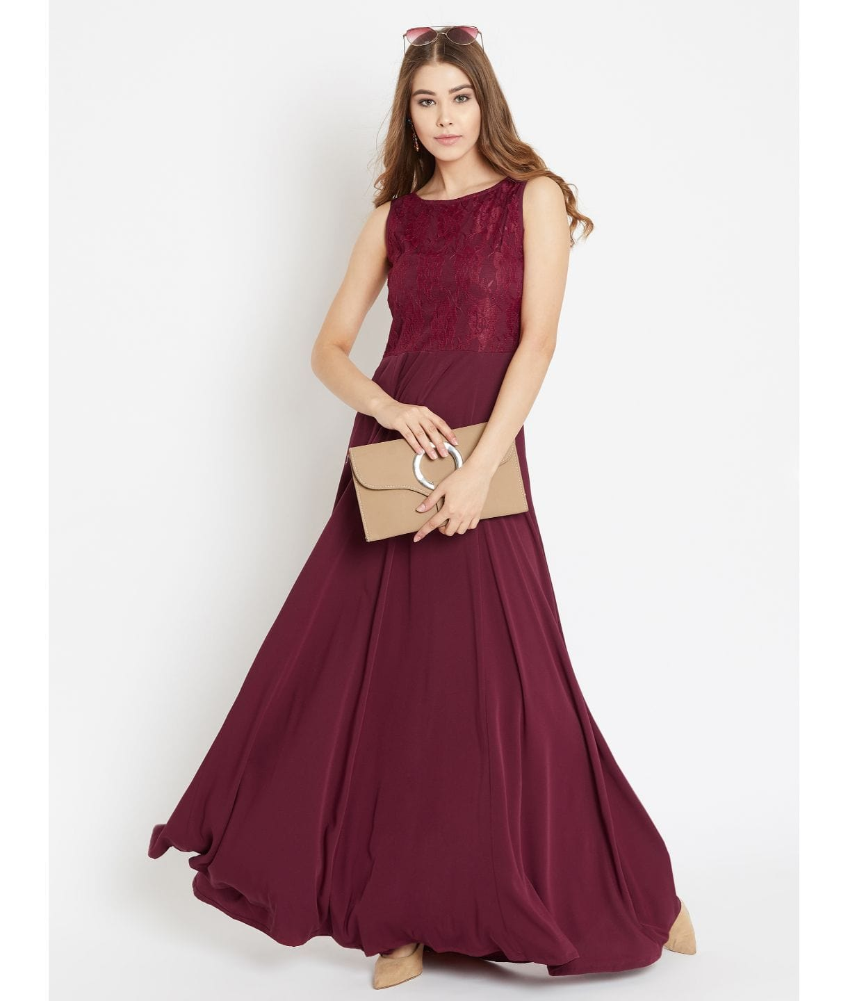 Maroon Solid Sleeveless Crepe Maxi Dress/Gown With Lace Details