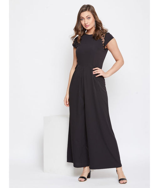 Black Solid Side Sleeve Polka Fit and Full Length Jumpsuit