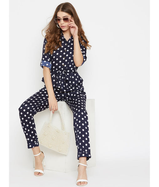 Polka Printed Navy Roll Up Jumpsuit