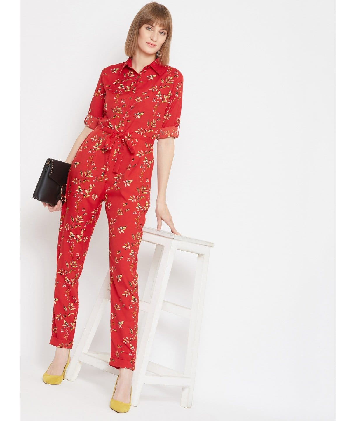 Printed Roll Up Jumpsuit