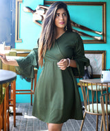 Green Wrap Neck Bell Sleeves Skater Dress - Uptownie