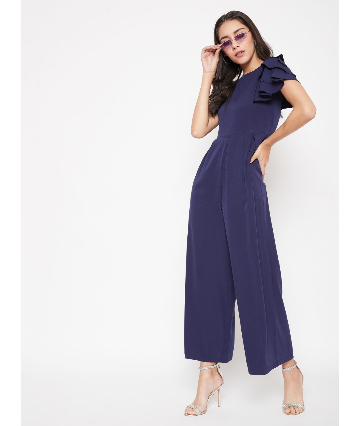 Uptownie Plus Navy Blue Solid Relaxed Fit Full Length Jumpsuit With Ruffled Sleeves