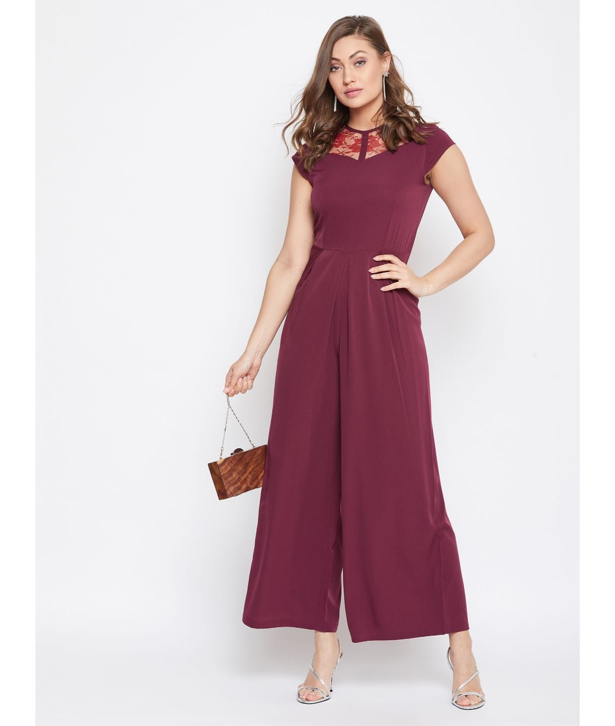 Maroon Solid Polka Neck Fit and Full Length Jumpsuit