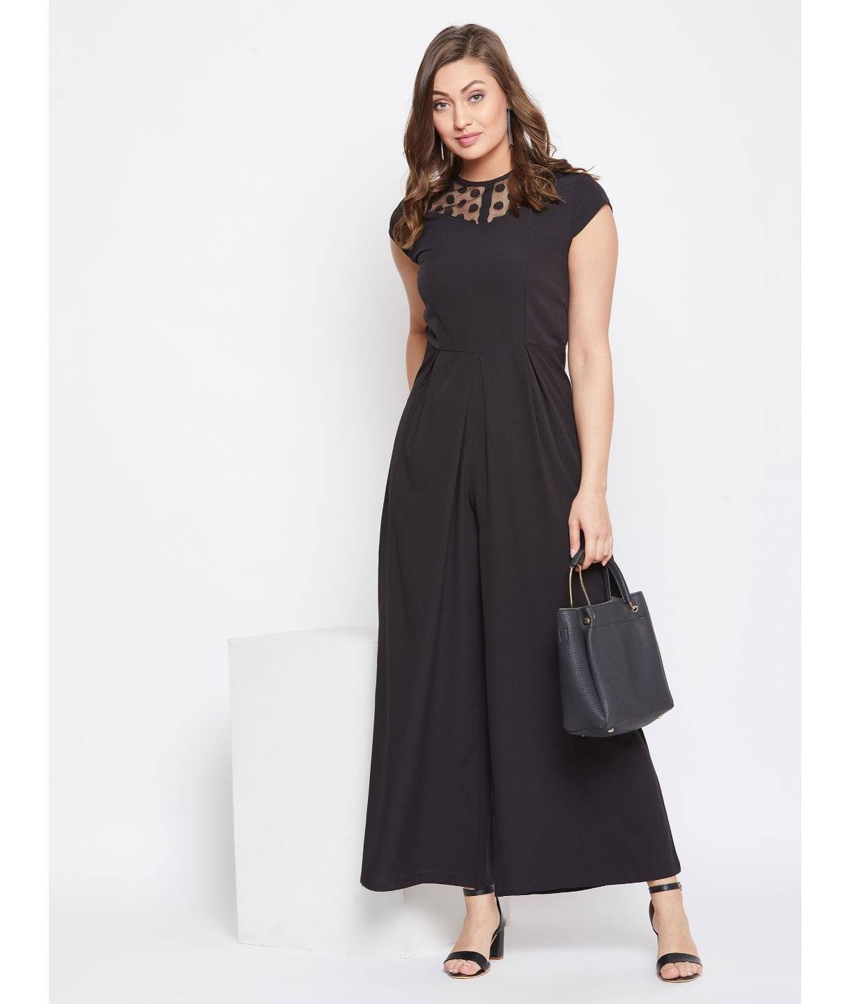 Black Solid Polka Neck Fit and Full Length Jumpsuit