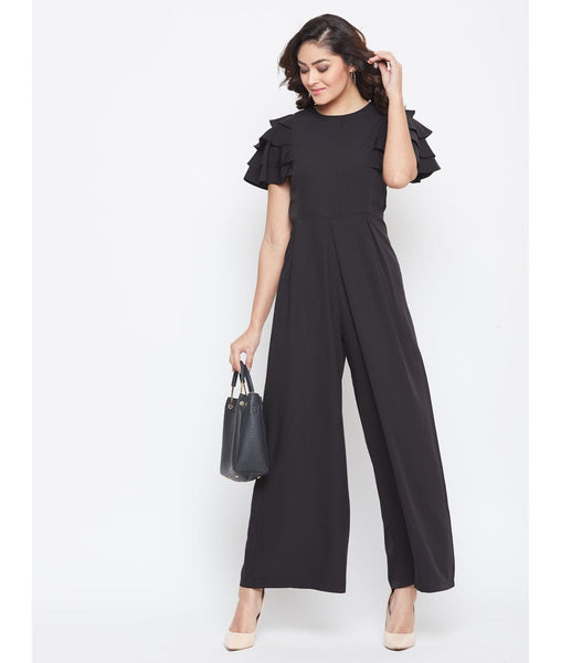 Black Solid Relaxed Fit Full Length Jumpsuit With Ruffled Sleeves