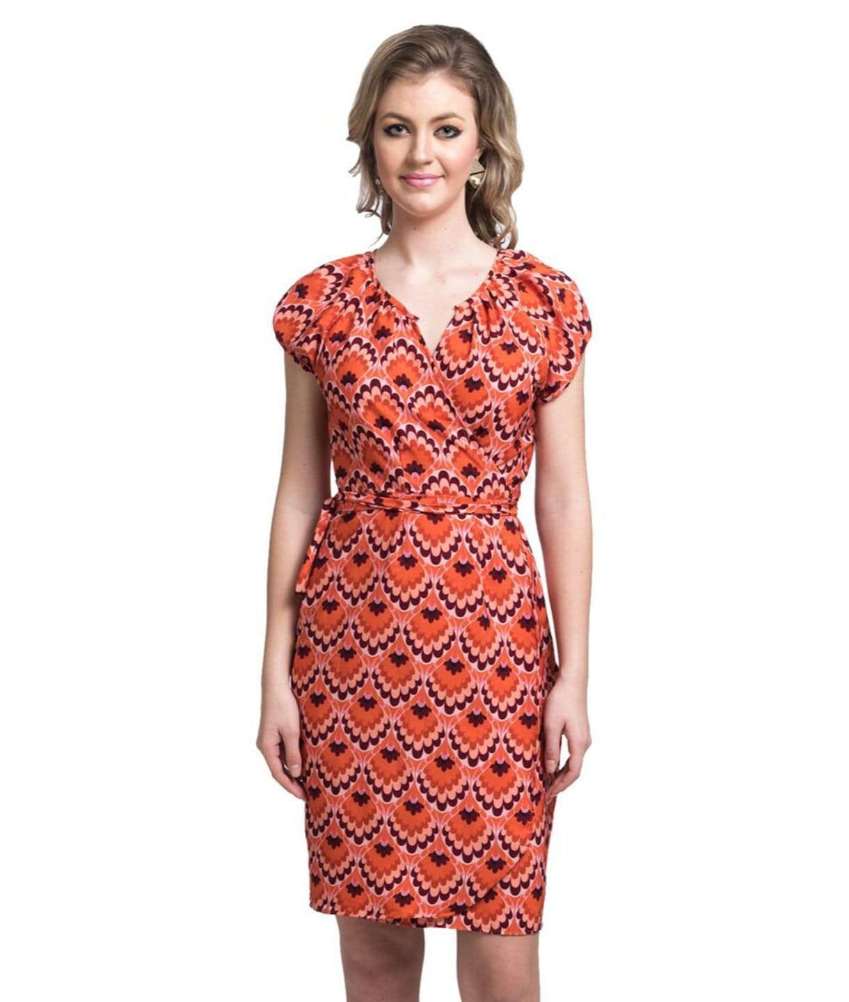 Printed Orange Wrap Crepe Dress