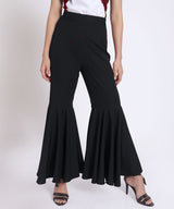 Solid Black Flared Pants - Uptownie