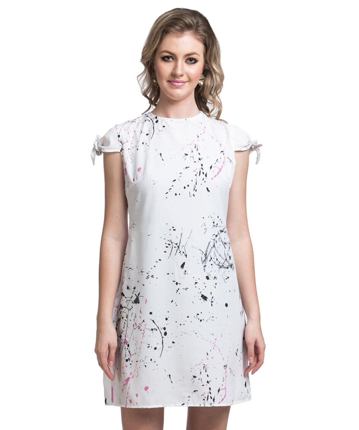 Printed White Shift Dress - Uptownie