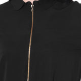 Solid Black Front Zipper Crepe Shirt