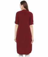 Uptownie Plus Solid Maroon Roll-Up Sleeves Crepe Kurti