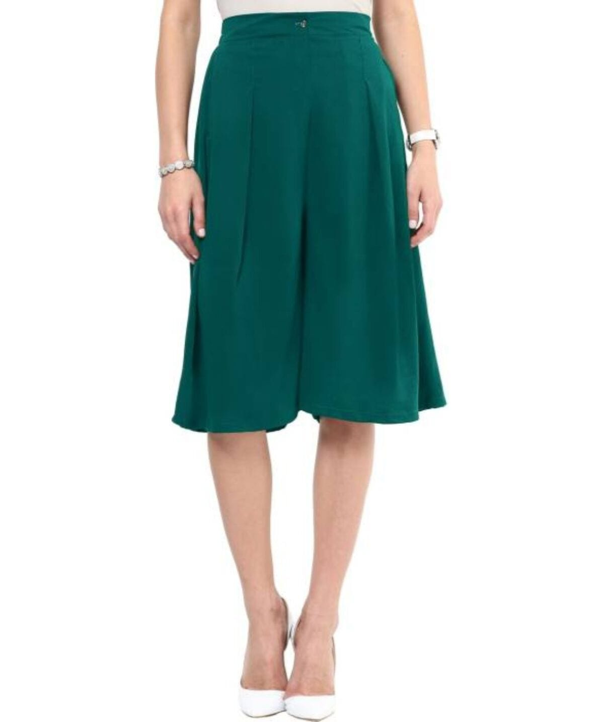 Green Knee Length Adjustable Culottes - Uptownie