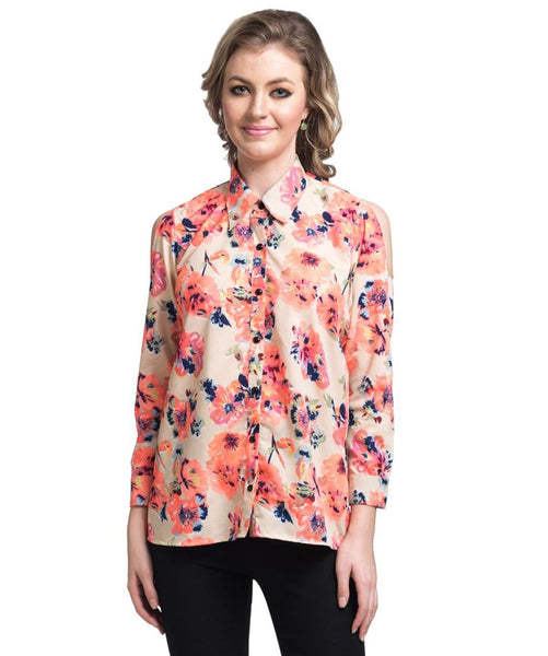 Printed Orange Button Down Crepe Shirt - Uptownie