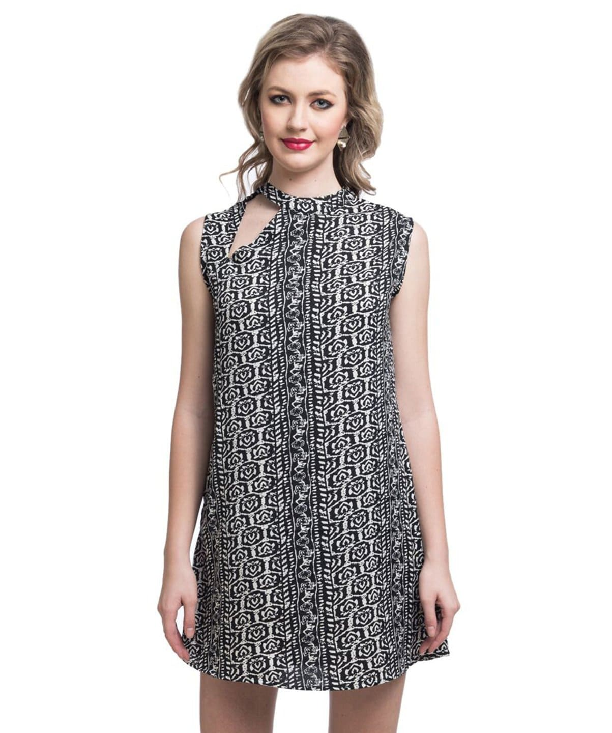 Printed Black Cutout Dress - Uptownie