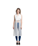 Solid White Casual Slit Crepe And Georgette Tunic