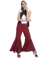 Uptownie Plus Solid Maroon Flared Adjustable Pants 5 summer sale