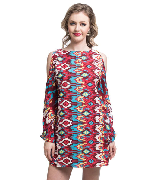 Printed Red Cold Shoulder Crepe Dress - Uptownie