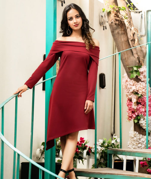 Solid Maroon Off Shoulder Knitted Dress