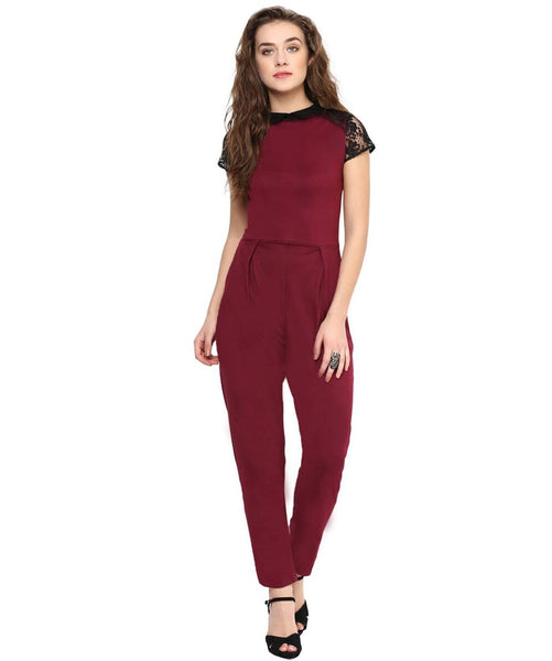 Maroon Solid Lace Sleeves Cotton Jumpsuit - Uptownie