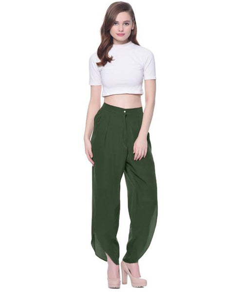 Olive Green Crepe Tulip Pants - Uptownie