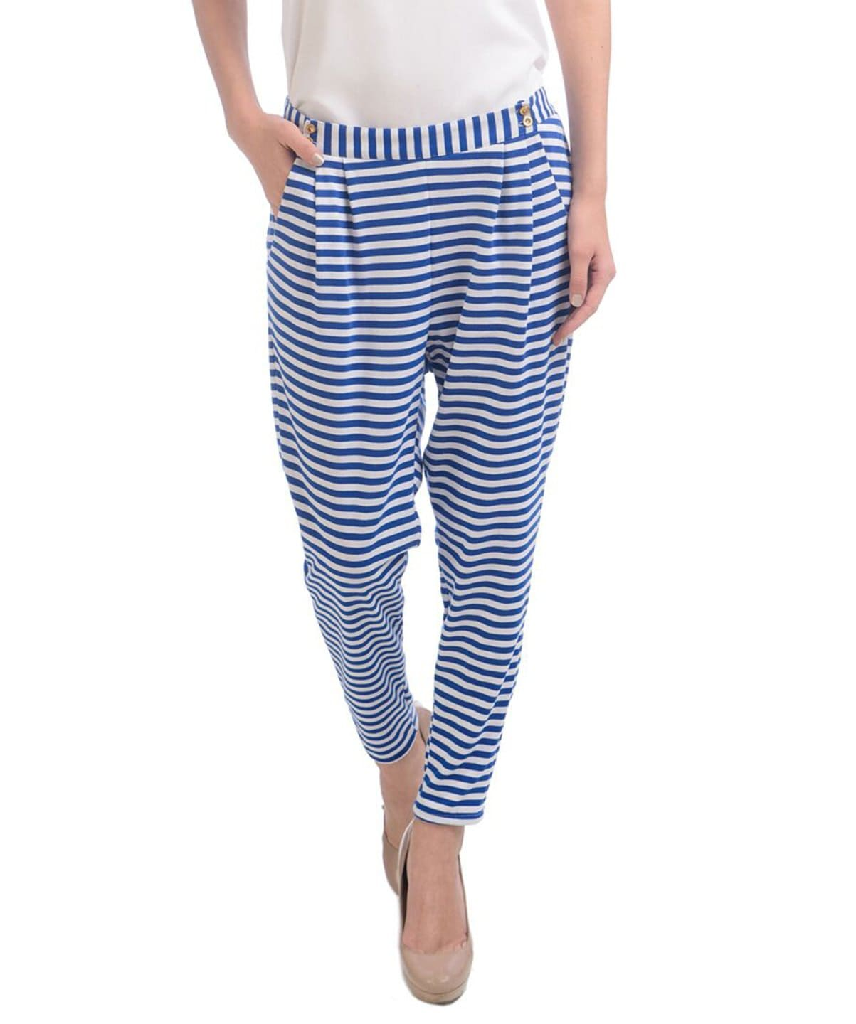 Blue Stripped Cotton Trousers - Uptownie