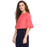 Dark Pink Back Cut out Boxy Top
