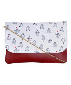 Uptownie X Azzra Red & White Sling cum Clutch bag for Women /Girls