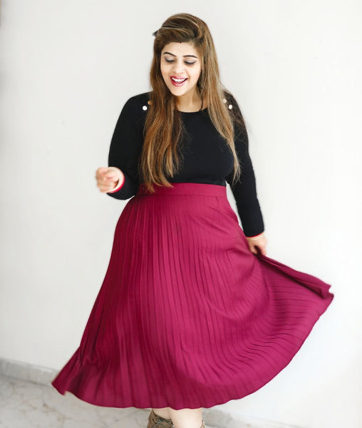 Maroon Pleated Crepe Skirt