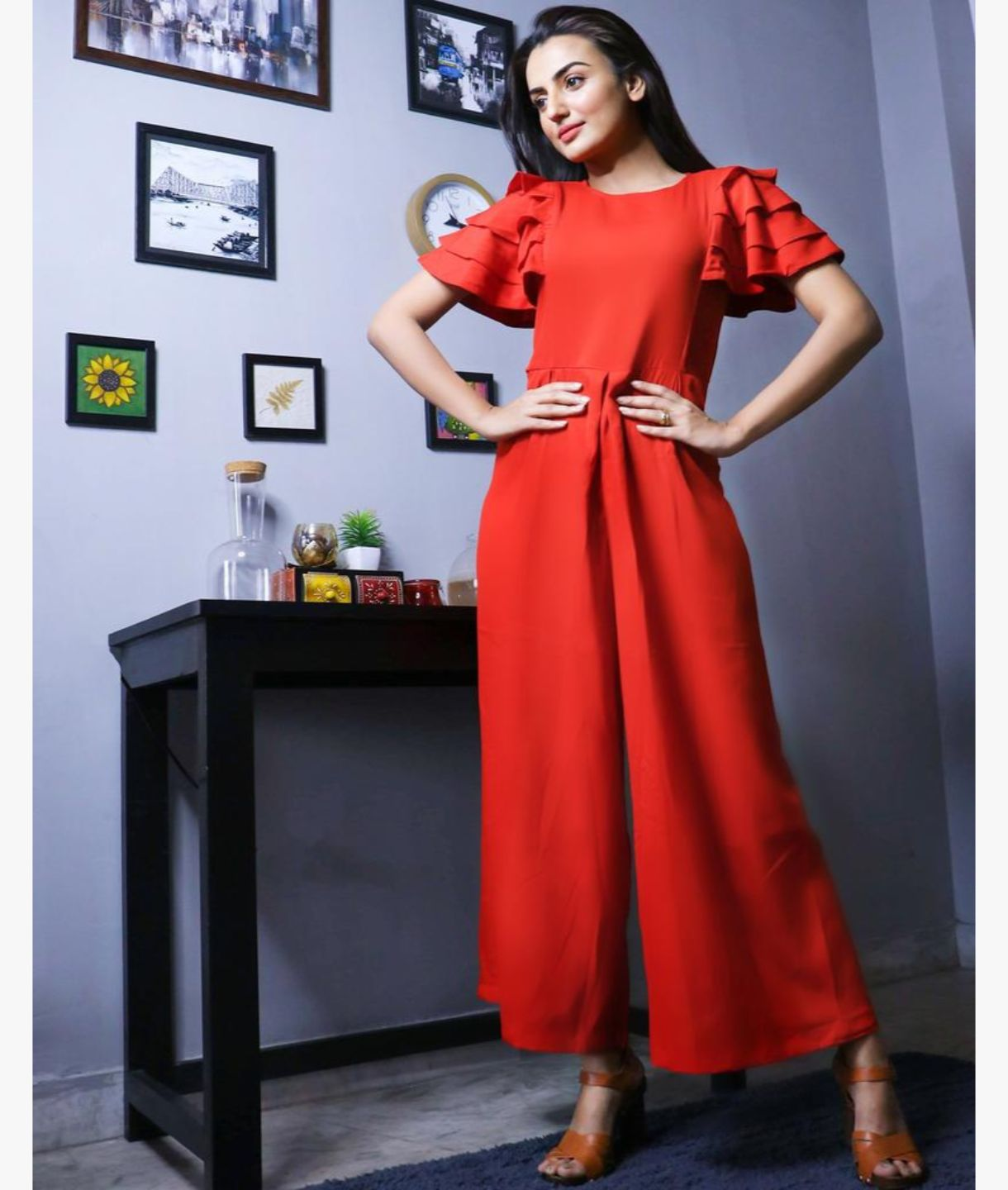 Uptownie Plus Red Solid Relaxed Fit Full Length Jumpsuit With Ruffled Sleeves