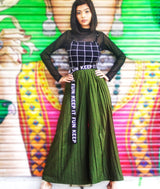 Uptownie Army Green Pleated Crepe Palazzo 1 clearance sale