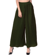 Uptownie Army Green Pleated Crepe Palazzo 3 summer sale