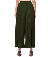 Uptownie Army Green Pleated Crepe Palazzo 4 clearance sale