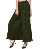 Uptownie Army Green Pleated Crepe Palazzo 5 trendsale