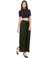 Uptownie Army Green Pleated Crepe Palazzo 6 clearance sale