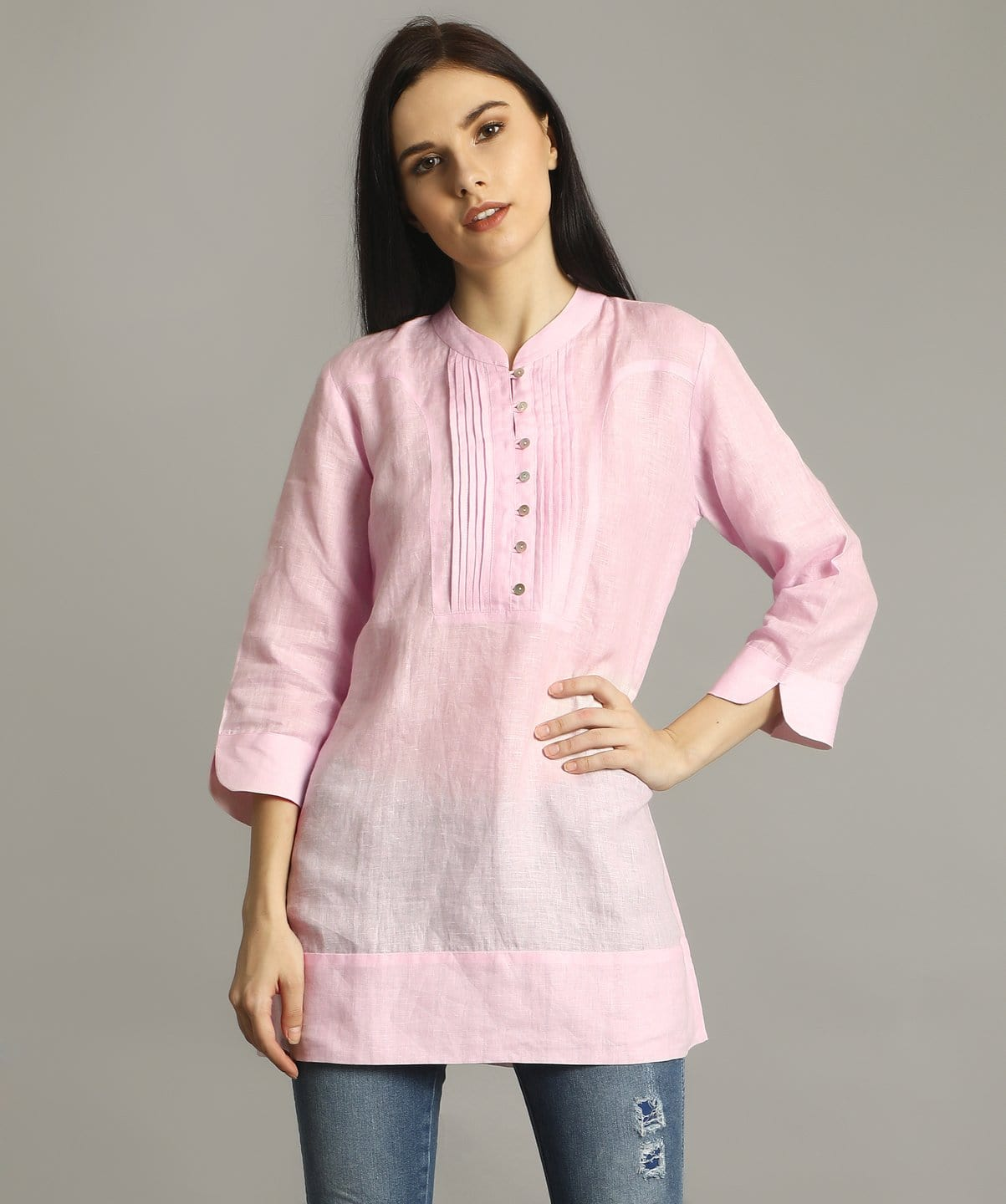 Uptownie Baby Pink Mandarin Pleated Neck Tunic 1 summer sale