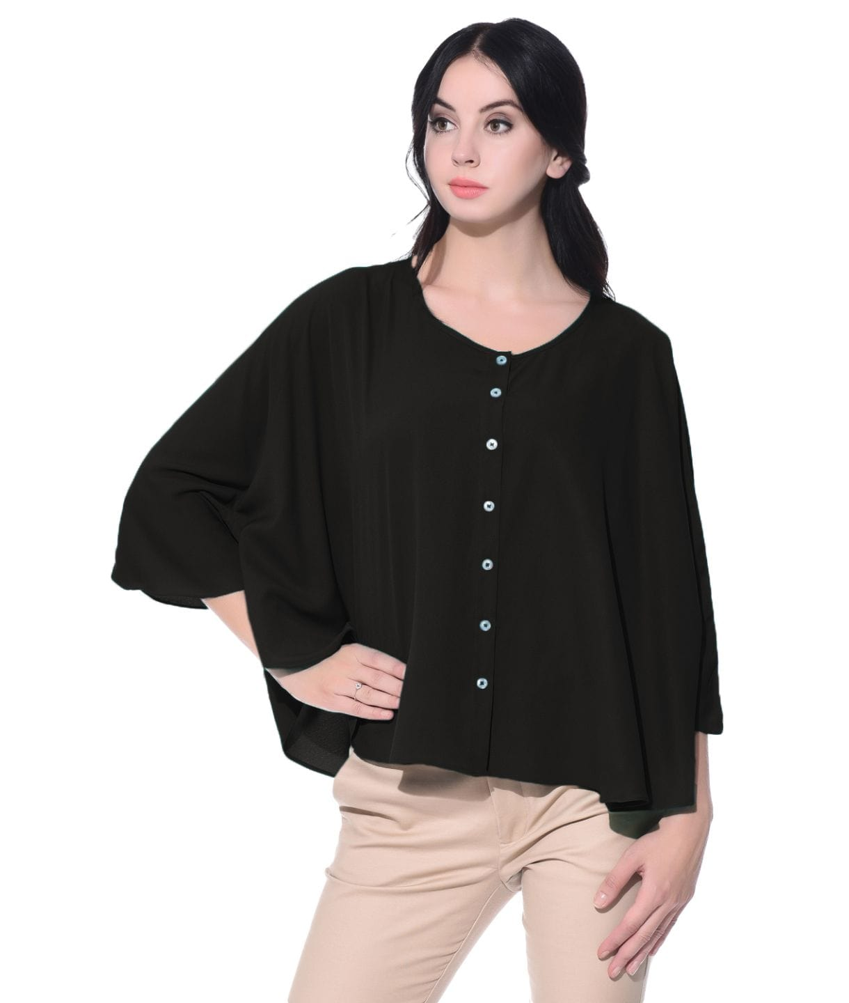 Black Buttoned Crepe Cape Top