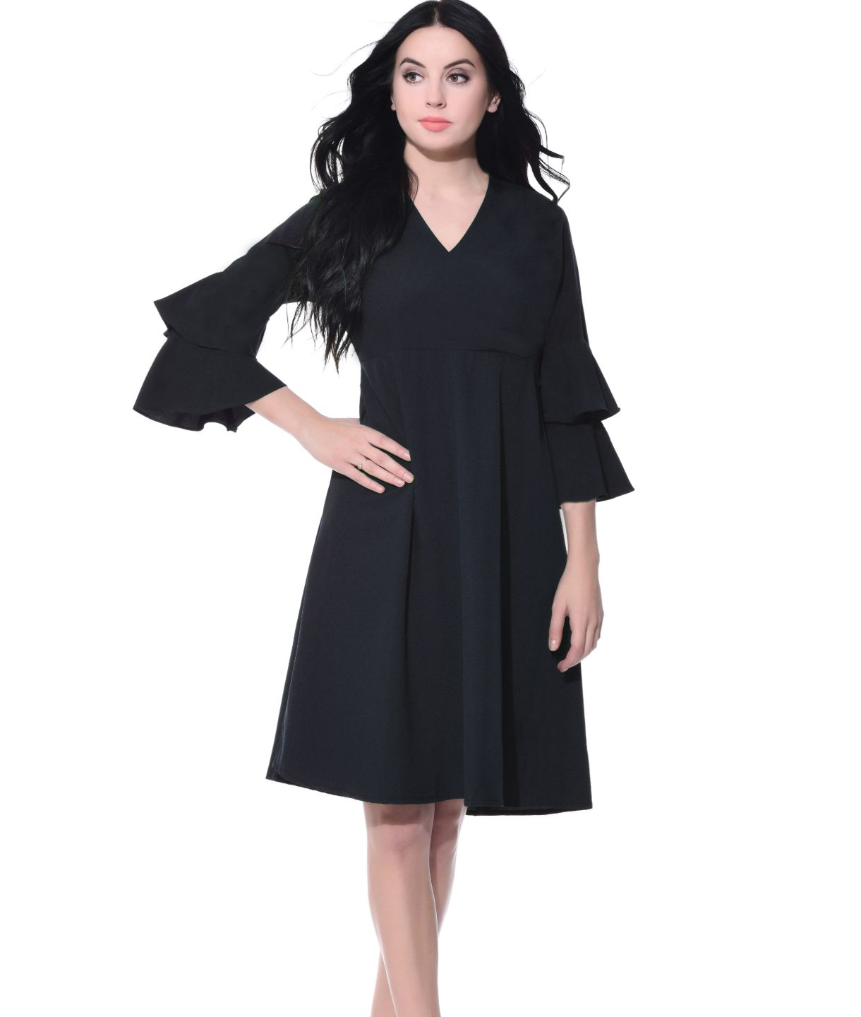 Uptownie Plus Black Wrap Bell Sleeves Skater Dress