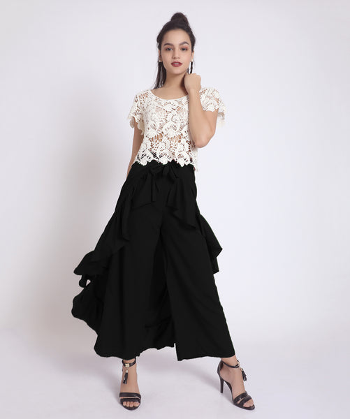 Solid Black Flared Ruffle Pants