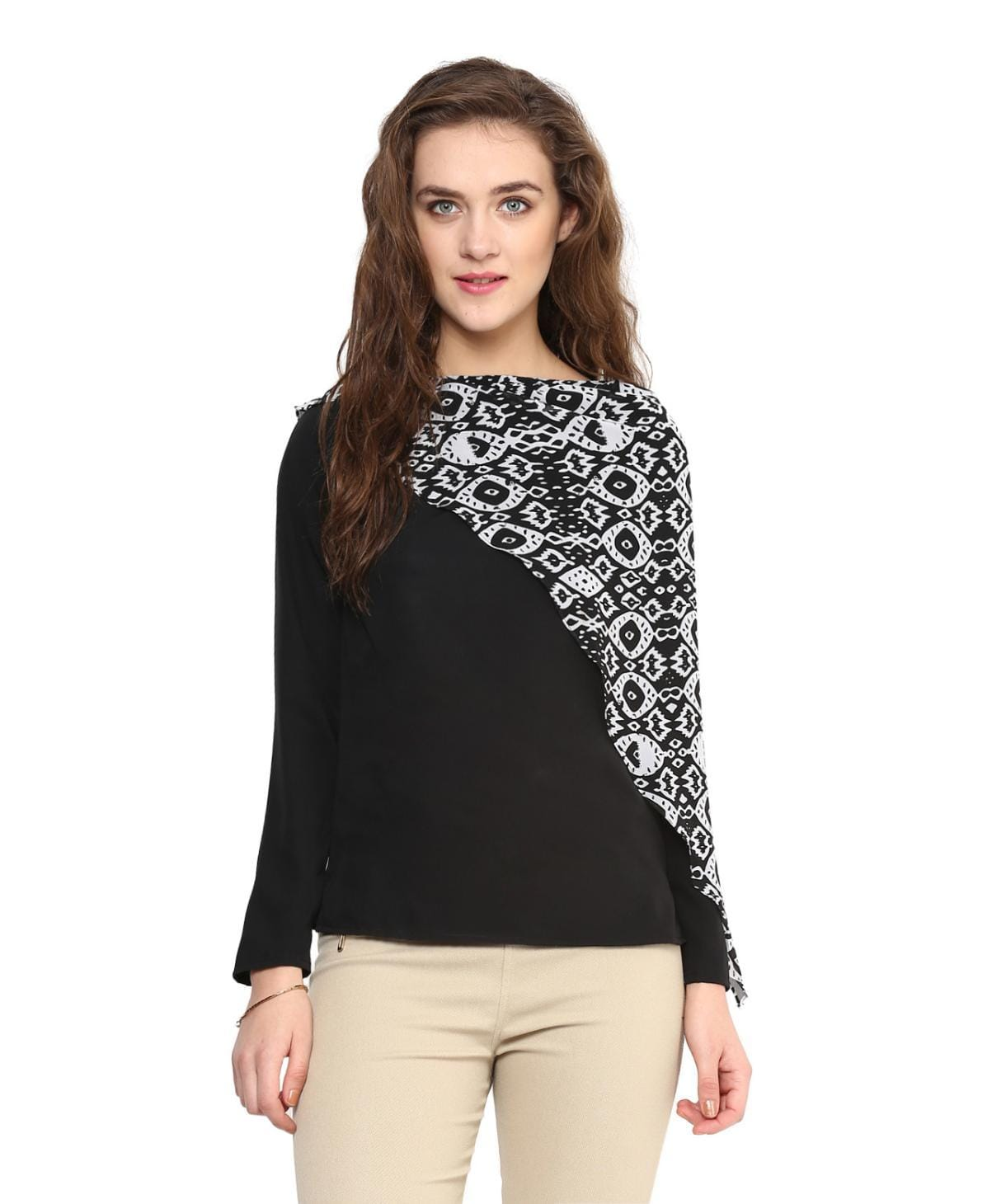 Uptownie Black Full Sleeves Georgette Top 1 Sale at 399