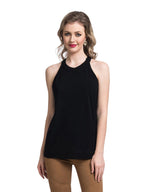 Black Halter Neck Racer Back Crepe Top