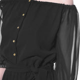 Black Off-Shoulder Sheer Jumpsuit. BUY 1 GET 3
