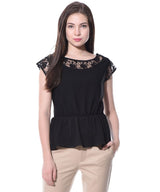 Black Solid Peplum Crepe Lace Top